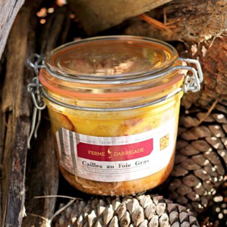 Bocal de 2 cailles fourrées au foie gras (400gr)